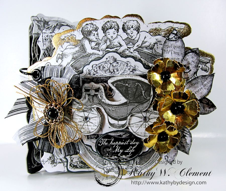 Kathy by Design/Black and White wedding album for Really Reasonable Ribbon