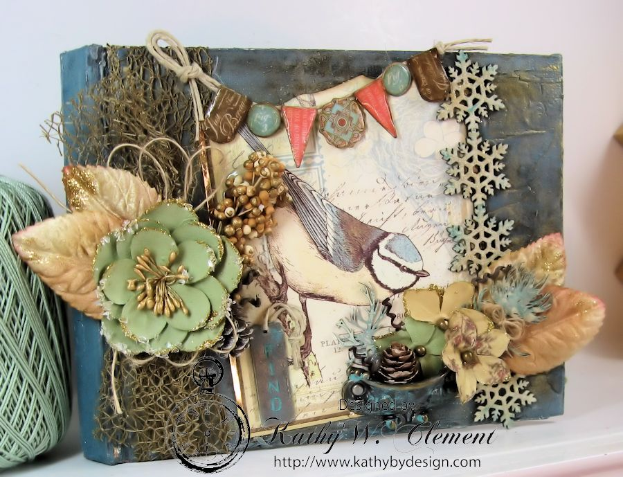 Kathy by Design Winter Bird Altered Book for Gypsy Laser Cuts 09