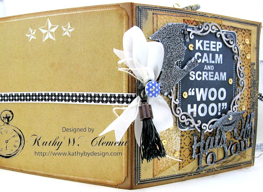 Authentique Accomplished Graduation Mini Album Tutorial by Kathy Clement for Gypsy Soul Laser Cuts 12